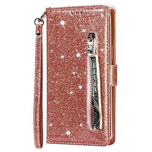Molg Kompatibel mit Samsung Galaxy S21+/S21 Plus 5G Hülle Glitzer Premium PU Leder Reißverschluss Wallet Flip Case [Armband] [Kartenfach] [Magnetverschluß] Stoßfest Cover-Roségold