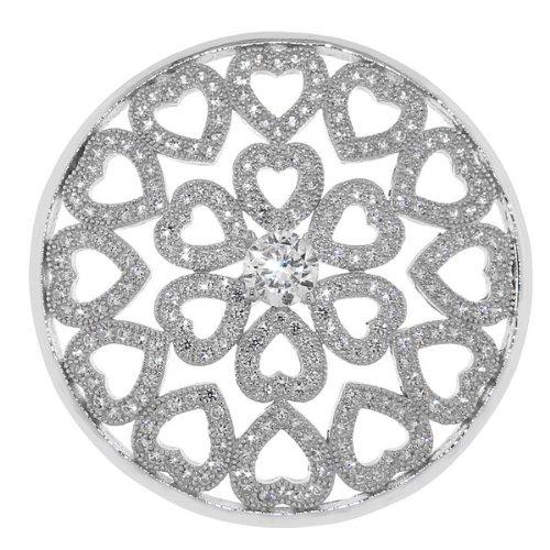 MY iMenso Fantasie Herzen Insignie Silber mit weißen Zirkonia 33 mm 33-1045
