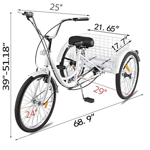 Adult Tricycles 7 Speed, Ljnuanrg Adult Trikes 3 Wheel Bikes, Three-Wheeled Bicycles Cruise Trike with Shopping Basket for Recreation, Shopping, Exercise Men's Women's Bike (24 inch)