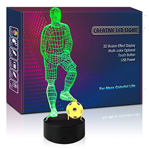 Soccer Player LED 3D Illusion USB Lamp Mixed Color Night Light Birthday Gift for Boy Athlete Teenager Sports Lover Fan Men Kid Bedroom Display Room Decor (Soccer)