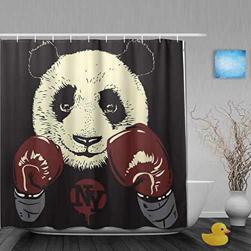 Judascepeda Duschvorhang,Panda Boxhandschuhe Hintergrund,Bad Vorhang Waschbar Bad Vorhang Polyester Stoff mit 12 Kunststoffhaken 180x210cm