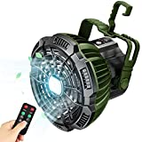 Fxexblin Camping Fan with LED Light, 3 in 1 Portable Electric Tent Fan Lantern with Remote Control & Hanging Hook, Camping Companion USB Rechargeable Ceiling Fan for Tents, Emergency Power Light for Outdoors, Home, Office
