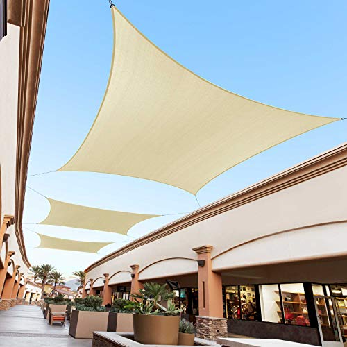Royal Shade 12' x 16' Beige Rectangle Sun Shade Sail Canopy Outdoor Patio Fabric Shelter Cloth Screen Awning - 95% UV Protection, 200 GSM, Heavy Duty, 5 Years Warranty, We Make Custom Size