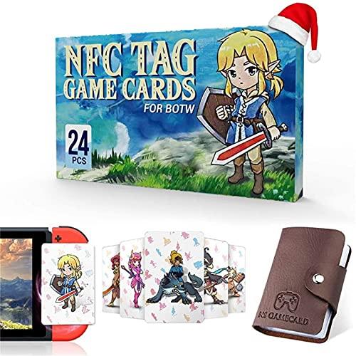 """24 Stück NFC Tag Spielkarten für """"The Legend of Zelda - Breath of The Wild"""" BOTW, TLOZ NFC Tag Spielkarten, Tragbarer Lederhalter mit Links Awakening für Switch/Lite Wii U"""
