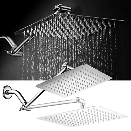 "HotelSpa Giant 10"" Stainless Steel Rainfall Square Showerhead with Solid Brass Adjustable Extension Arm"