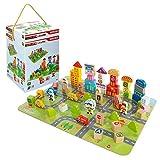 WOOMAX - Juego bloques de madera 100 piezas Ciudad (ColorBaby 46213)