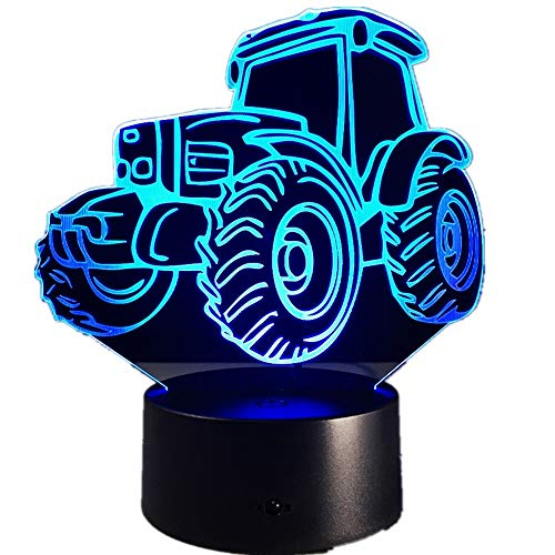 Tractor motorizado Coche Luces Decorativas Forma de Coche Carga Interruptor táctil Luces Coloridas Luces de Noche para niños Granja Decoración Barco