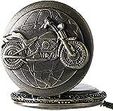 WYDSFWL Collar Reloj de Bolsillo de Bronce 3D Diseño de Motocicleta Reloj de Bolsillo de Cuarzo para Hombre Cadena para Hombre Bicicleta Motocicleta Vintage Colgante Regalo