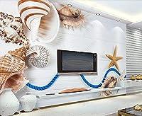壁紙 3D 貝殻、巻き貝、ヒトデ、白い木の板 不織布壁紙テレビ背景壁
