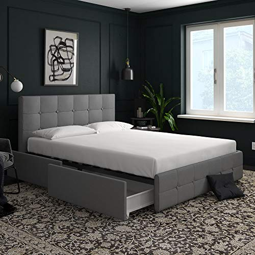 DHP Rose Upholstered Bed with Storage, Gray Linen, Queen