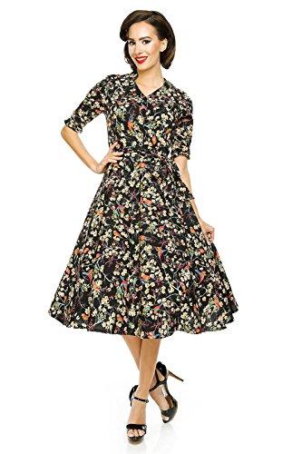 Vestido clásico Rockabilly de los años 40 y 50 con estampado de pájaros.