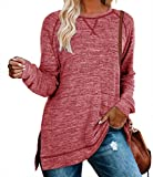 Womens Long Tops to Wear with Leggings Burgundy Long Sleeve Tunics Pullover Loose Shirts S
