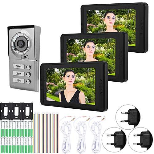Timbre del teléfono, timbre del intercomunicador con video del monitor de 3 PCS, para observar la grabación de video de los visitantes(European standard (110-240V), Transl)