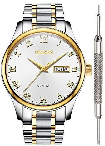 OLEVS Mens White Face Casual Watches for Men Fashion Classic Business Calendar Date Watch Waterproof product image