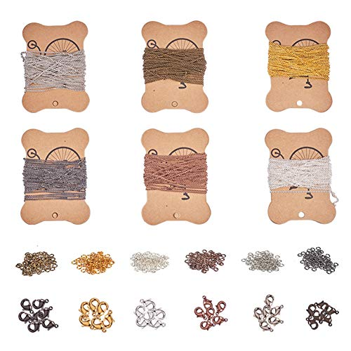 PandaHall Elite 6 Blätter 5m / Blatt Eisen Twisted Ketten Panzerketten Halsketten mit 360 Stück 4mm Biegeringe und 120 Stück Messing Karabinerverschlüsse für DIY Schmuckherstellung, 6 Mix Farben