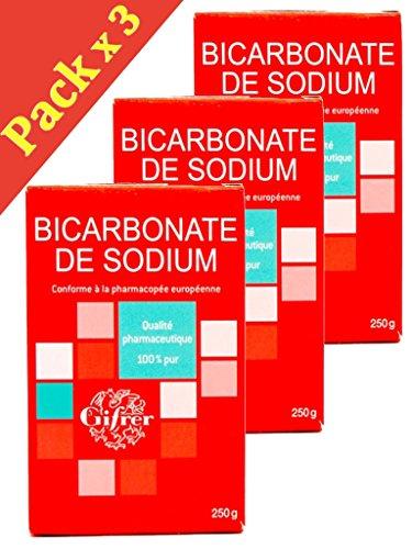 GIFRER Bicarbonate de sodium Qualité Pharmaceutique 100% Pure - Lot de 3 x 250g