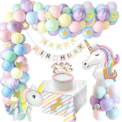 Decoration Anniversaire Licorne Fille, Licorne Ballon Anniversaire Fille avec énorme Ballon Licorne 3D, Bannière de Joyeux Anniversaire, Decoration Licorne pour Deco Anniversaire Fille Recyclé