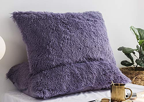 Ceruleanhome 2pc 100% Velvet Flannel Pillow Shams, Solid Color, No Inside Filler (Purple, 2pc King Pillow Cases Fluffy)