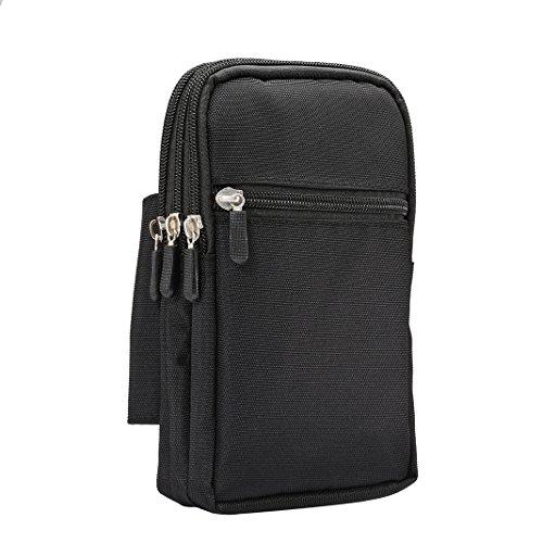 Sacchetto della Clip Verticale Custodia, 7.0' Borsello da Uomo Nylon Borsetta Borsa Clip Cintura di trekking Bag Case Custodia protettiva per Cellulari Campeggio Viaggio Piccola Borsa da Cintura nero