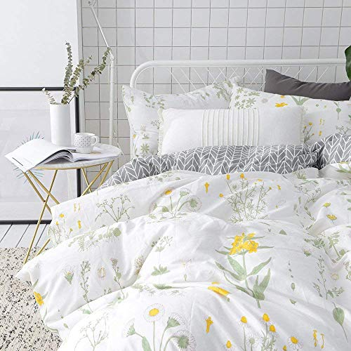 VClife Cotton Twin Bedding Sets Floral Kids Duvet Cover Sets Reversible Geometric Bed Duvet Cover Sets Kids Flower Home Bedding Comforter Cover Sets, Zipper Closure Corner Ties, 3 PCS Sets, Twin