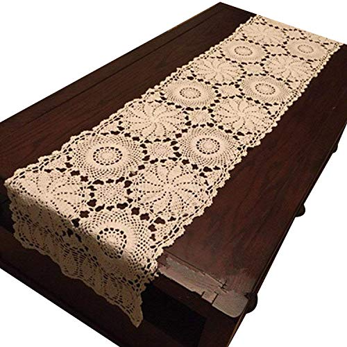 USTIDE Rustic Floral Table Runner Hand Crochet Table Doily Beige Cotton Lace Table Decoration for Coffee Table 15