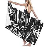 TISAGUER Toalla de baño Tinta Abstracta veteado de mármol Blanco y Negro Ebru Aqua y Seda Tradicional Suave Hoja de baño de para el hogar,los baños,la Piscina Toallas Baño Toalla de Playa