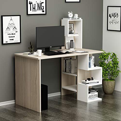 HOMIDEA DERONI Scrivania - Scrivania per Computer - Scrivania Ufficio - Porta PC - Tavolo per Computer con Scaffale Ripiano (Avola/Bianco)