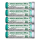 OLLOIS Arnica Montana 200ck Organic, Lactose-Free Homeopathic Medicines for Pain, Trauma, Bruising- 5 Pack, 400 Count