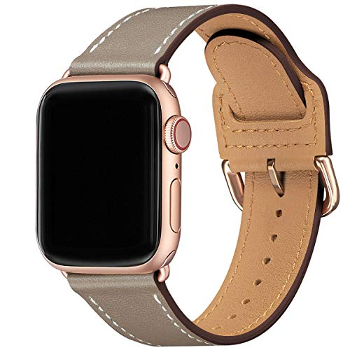 LOVLEOP バンド コンパチブル Apple Watch バンド 38mm 40mm ,トップレザー交換用ストラップ ,のために適したiWatch SE,Series 6 Series 5 Series 4 Series 3 Series 2 Series 1(38mm 40mm, キャメルブラウン バンド+ローズゴールド バックル)