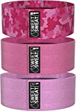 Sweet Sweat Hip Bands with 3 Levels of Resistance | Non-Slip Fabric Booty Bands for Squats & Lunges | Includes Free Mesh Carrying Bag (Pink)