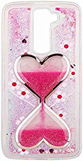 LG K7 Case, QKKE [Wine Glass Diamond Series] 3D Glitter Bling Hearts Flowing Liquid Star Clear Hard Case for LG K7(Hourglass/Hot Pink)