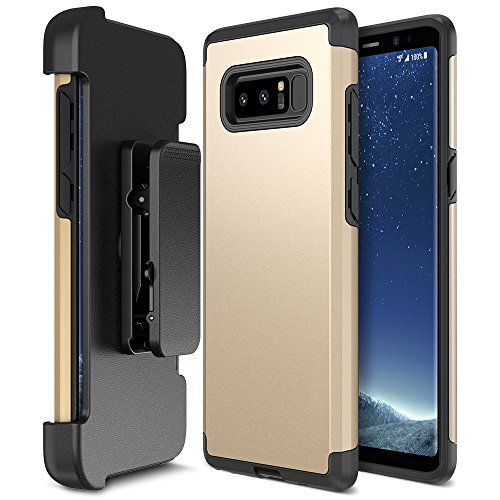 Galaxy Note 8 Case Holster, Trianium [Duranium Series] Heavy Duty Protective Cover with Belt Clip and Kickstand for Samsung Note 8 Phone [Extreme Protection]- Gold
