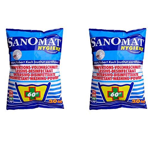 Desinfektionswaschmittel Desinfektions-Vollwaschmittel 2 x 20 Kg Sparset Sanomat Hygiene Waschmittel phosphatfrei, VAH und RKI zertifiziert Wäsche-Desinfektion