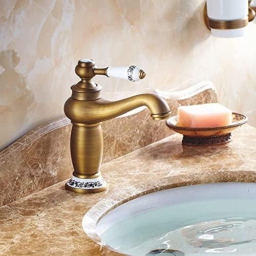 Cobre Grifo de lavabo de agua fría caliente mezclada Cromo cepillado Glod Blacek Grifo mezclador Válvula mezcladora ecológica Manija única Un orificio Caño frío y caliente (Color: Oro antiguo)