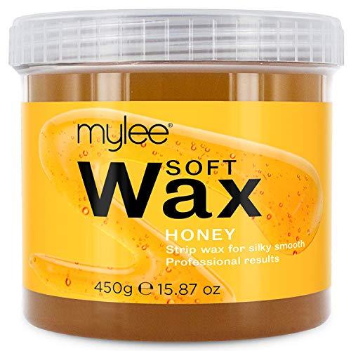 Mylee Cire molle au Miel pour peaux sensibles, 425g - Crème pour l'épilation - Peut être utilisé au micro-ondes et peut être utilisé dans un appareil de chauffage à la cire