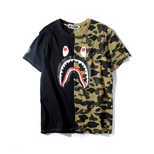 Big Mouth Shark Ape Bape Camo Casual T Shirt Tees Unisex, T-1black, Size Large