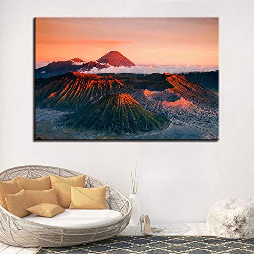 wZUN Decoración Moderna Tablero de Aceite de Moda volcán Pintura Cuadro Lienzo Arte Sala de Estar 60x90cm Sin Marco