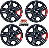 Hotwheelz Sporty Twin Color 14-inch Wheel Cover with Rings(Set of 4pc, Black Red)
