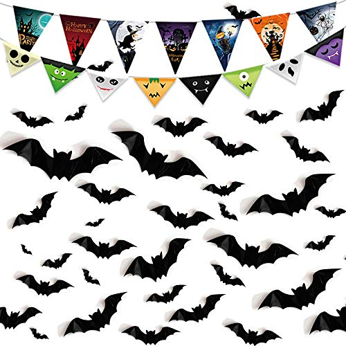 Caiery 80 Pieces 3D Bats Halloween Accessory Kit & 1 Piece Happy Halloween Banner for Party Decoration Halloween Party Accessories for Home Window Wall Decoration