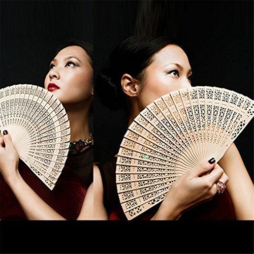 ESHOO Ventilateur à Main Pliant Chinois Eventail en Bambou Décoration Cadeau