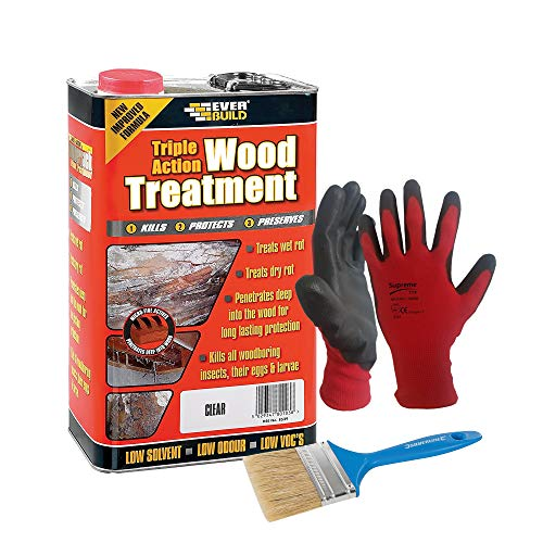 Nassboards Everbuild Triple Action Wood Treatment 5 Litre – Fast Drying Clear Wood Treatment for Outdoor and Indoor Wood Furniture and Surfaces, Kills Bugs, Wood Boring Insects, Prevents Mould and Rot