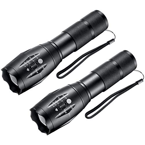 LED Flashlights,Tactical Flashlight High Lumens Lights with 6Pack AAA Batteries Portable Waterproof Zoomable FlashLight with 5 Mode For Camping/Outdoor/Hiking/Gift-Giving/Emergency, 2 Pack (Black)