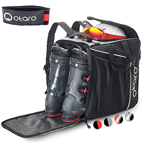 Otaro ® Premium Skischuhtasche mit Helmfach (Classic: Grau/Schwarz)