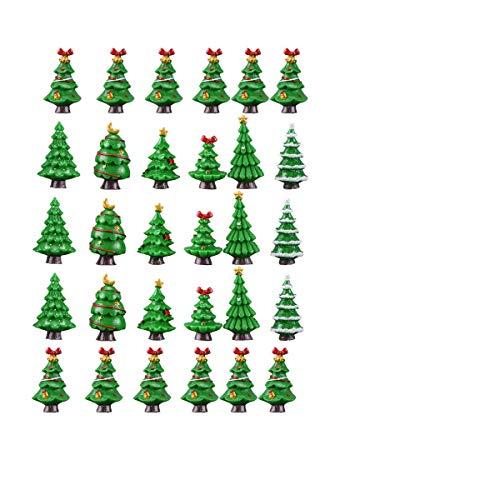 VORCOOL Mini Albero di Natale Micro Paesaggio Albero di Natale Addobbi Natalizi Decorazione della Tavola di Natale Micro Paesaggio Puntelli - 30 Pezzi (Stile Casuale)