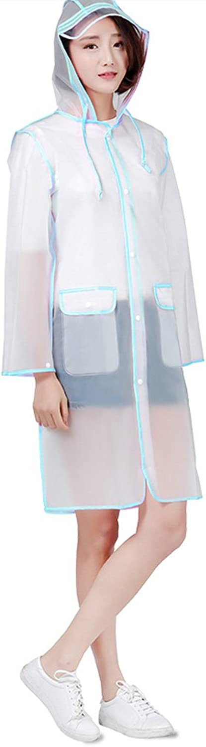 Reusable Waterproof Portable Transparent raincoat EVA Material, Rain Resistant Poncho with Hoods and Sleeves for Travel, Festivals, Theme Parks and Outdoors by TIANTA