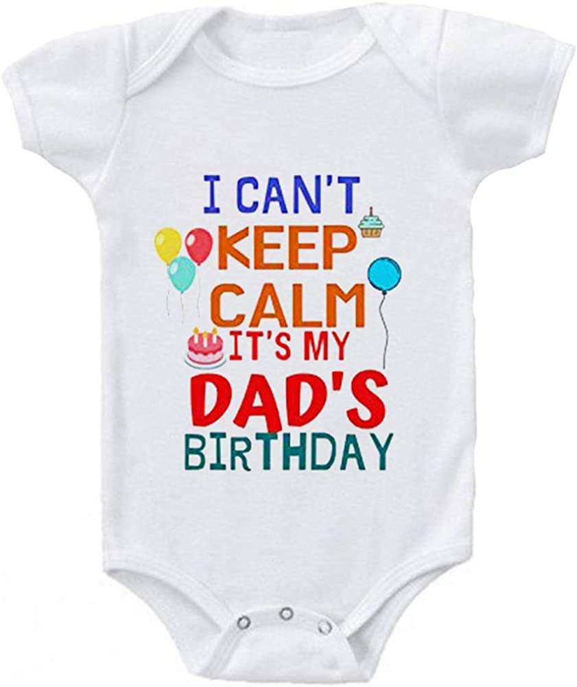 G-Amber Happy Birthday Daddy Mommy Baby Boys Girls Romper Bodysuit Infant Funny Letter Jumpsuit Outfit 0-24Months