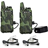 Retevis RT22 Walkie Talkies for Adults, Two Way Radio Long Range Rechargeable, Portable Two-Way Radios, Mini, VOX Handsfree, for Kids Family Camping Hiking Road Trip Adventure (2 Pack, Camouflage)