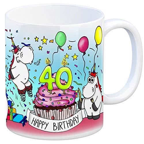 trendaffe - Honeycorns Tasse zum 40. Geburtstag mit Muffin und Einhorn Party