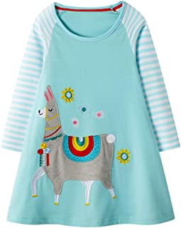 〓COOlCCI〓Dresses for Kids,Winter Girls Cute Cotton Long Sleeve Casual Cartoon Striped Dresses Maxi T-Shirts Dress Sundress