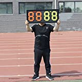 QPKUNG Portable Manual Soccer Substitution Board 24.4 inch×11.8 inch Double Side Display OUT & IN,4-Digits